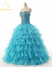 Bealegantom Cheap 2018 Red Blue Quinceanera Dresses Ball Gown with Beaded Crystal Organza Prom Party Sweet 16 Dresses QA934