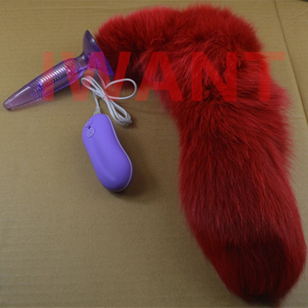 Red Fox Tail Anal Plug In Adult Game For Couples,10 Speed Vibrating Anal Pleasure Butt Plug , Erotic Sex Flirting Toys For Women multi speed vibrating anal beads butt plug in adult games for couples erotic anus pleasure sex products toys for women and men