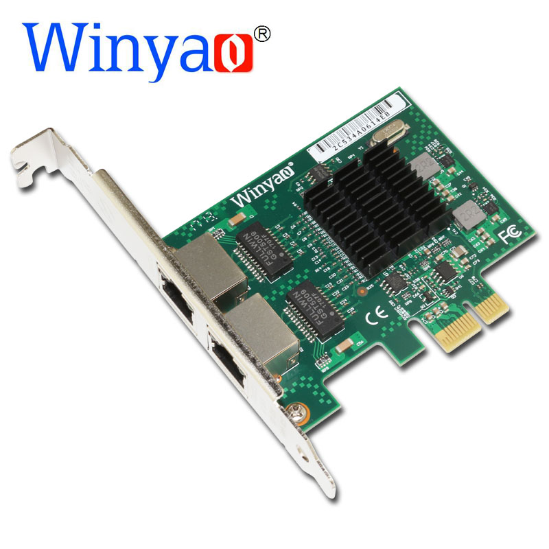 Winyao E575T2 Dual-port PCI-E X1 Gigabit Ethernet Network Card 10/100/1000Mbps LAN Adapter Controller Wired 82575 E1G42ET