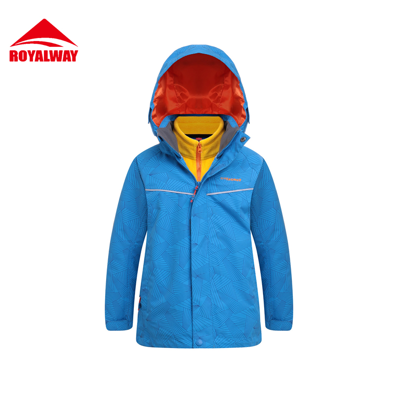 ROYALWAY 2Pieces 2017 New Children Camping Hiking Jacket  Outdoor Sport Warm Waterproof Winter Jacket Girls Boys#RFOG4196G yin qi shi man winter outdoor shoes hiking camping trip high top hiking boots cow leather durable female plush warm outdoor boot
