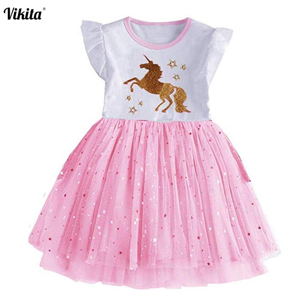 VIKITA Vestido para As Meninas Vestidos de Princesa Unicórnio Vestido Infantil Robe Fille Menina Vestido de Partido Dos Miúdos Vestidos de Tutu Verão Licorne