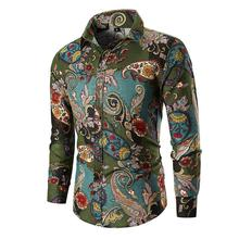Cashew Flower printed Long-sleeved Mens Shirt Floral Hawaiian Blouse Men Clothing Red Green