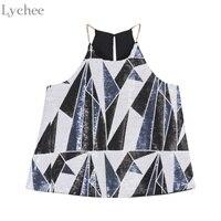 Lychee Harajuku Sexy Summer Women Cami Sequin Geometric Casual Sleeveless Tank Top Bohemia Vest