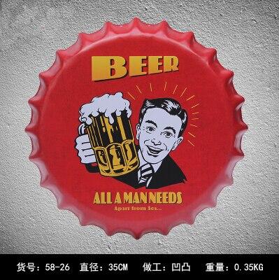 Vendita Professionale Dia35cm Vintage Style Red Beer Pub Tappo Di Bottiglia Di Metallo Targhe In Metallo Segni In Metallo Placca Gear Cap Forma Bar Pub Cafe Casa Art Craft Altamente Lucido