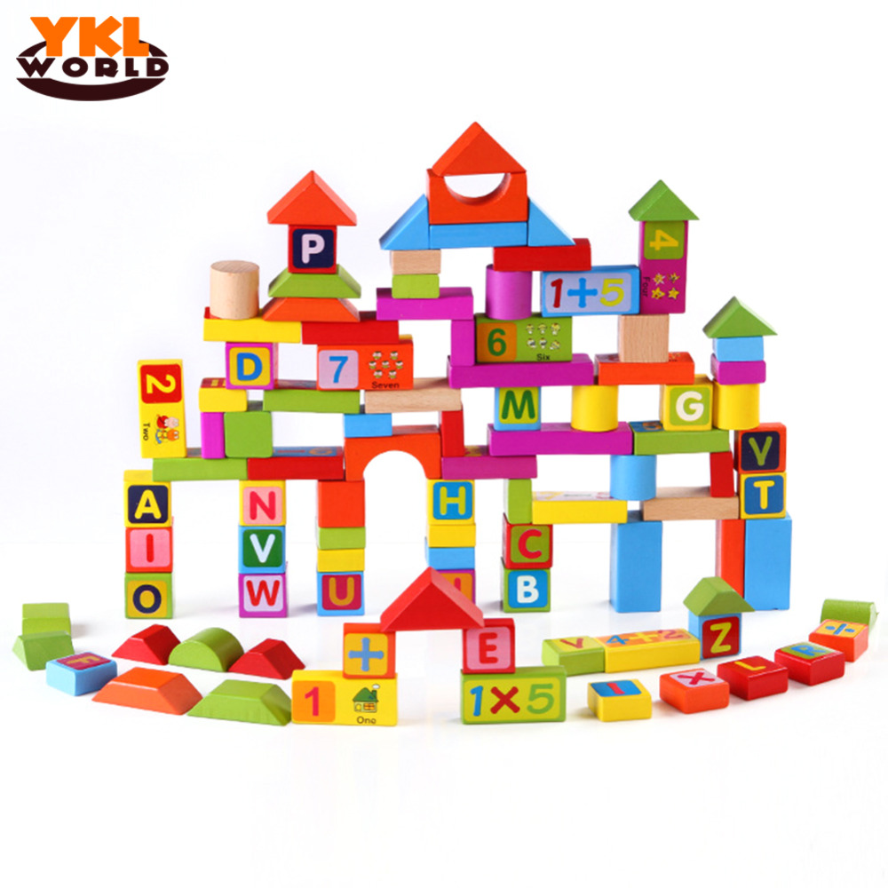 YKLWorld 100pcs/set Children Enlightenment Educational Toy Kid Wooden Blocks Assemblage Brinquedos Number Mathematic Letters -45 kid s soft montessori wooden mini number house number shape matching blocks toy set early educational gift for kids