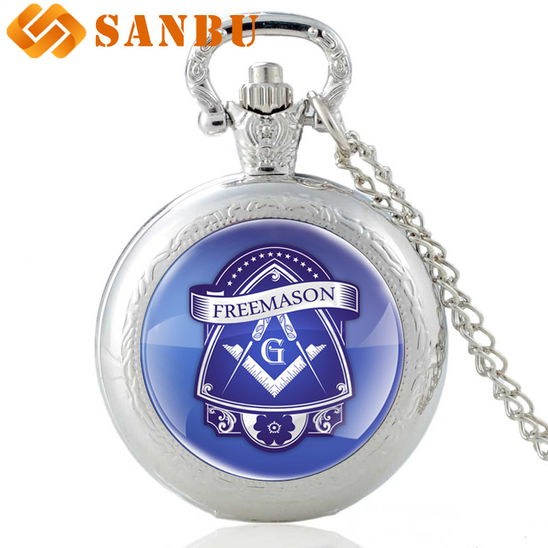 New Fashion Silver Free-Mason Quartz Pocket Watch Vintage Men Women Masonic Logo Pendant Necklace Gift