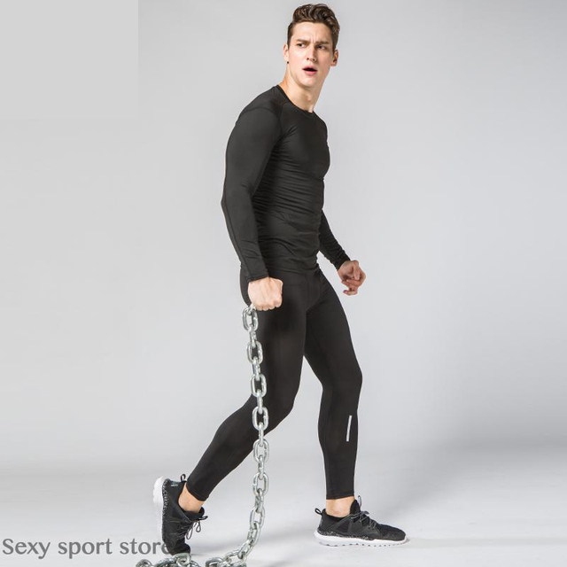 Correr conjunto deportivo para hombre compresión seco rápido chándal del  entrenamiento de fitness camisa de manga 3700894fe9b4