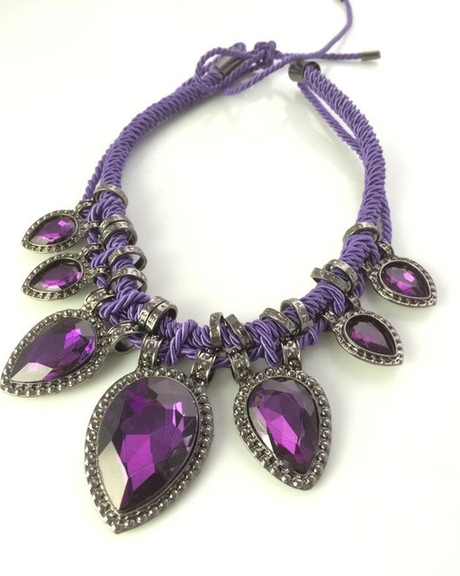 Newest Gem Pendant Necklace Fashion Purple Crystal Statement Necklace Rope Chain Jewelry For Women 2013