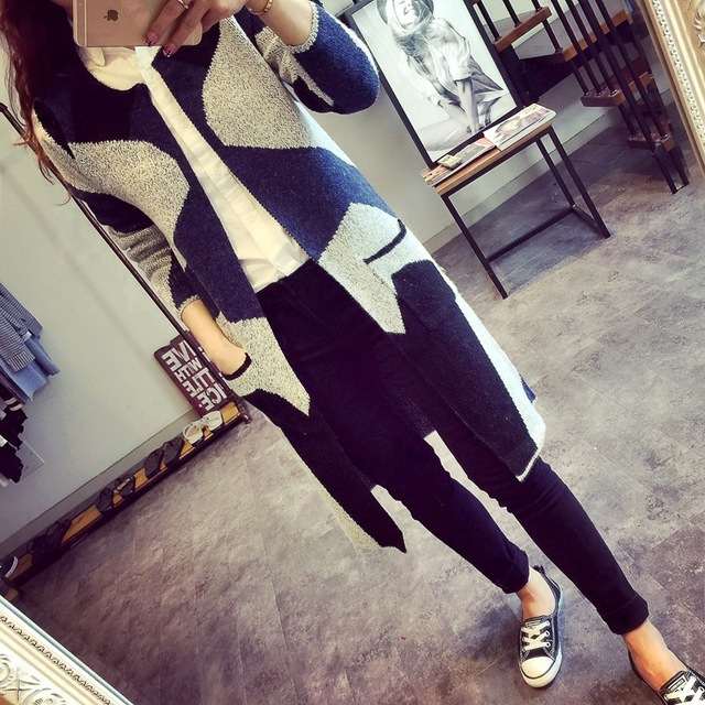 New Autumn Spring  Women Sweater Cardigans Casual Warm Long Design Female Knitted Sweater Cardigan Sweater Lady