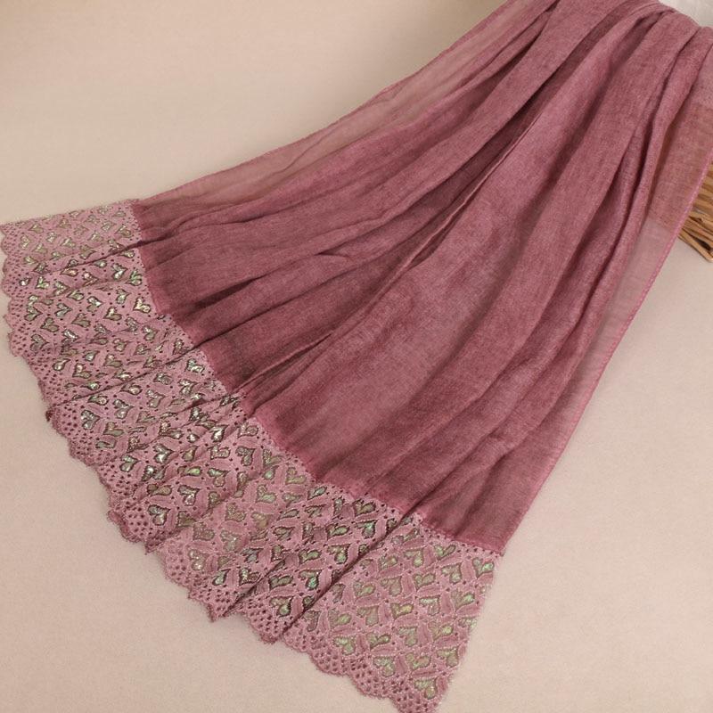 Fashion print women Lace cotton Scarf muslim hijab autumn soft scarves wraps headband long shawls 11 colors 20pcs/lot VS021