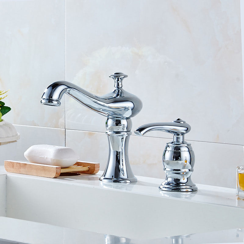 New 2 PCS Brass Bathroom Faucet Two Hole Basin Sink Faucet Mixer Taps Cold  Hot Water Tap With Drain Soap Dispenser Chrome Gold In Basin Faucets From  Home ...