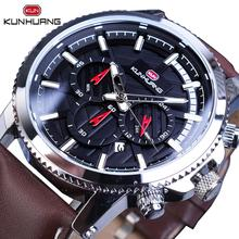 цена на 2019 NEW Fashion Men Quartz Watch 3 Sub Dial Date Multifunction Genuine Leather Business Watches Clock Hodinky Relogio Masculino