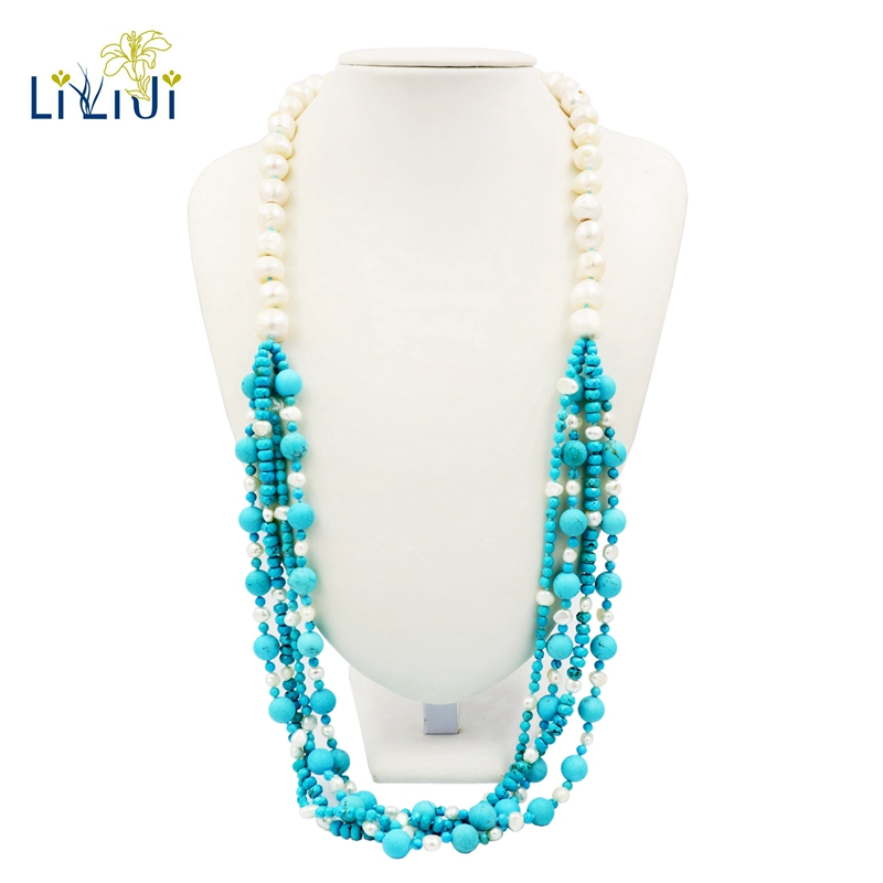 Lii Ji Baroque Pearl,Dye Blue Color Turquoise Fashion Sweater Long NecklaceLii Ji Baroque Pearl,Dye Blue Color Turquoise Fashion Sweater Long Necklace