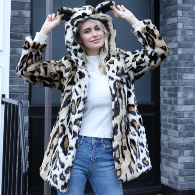 19661a910ee Winter Warm Parkas Jacket Thick Faux Fur Long Coat Animal Ear with Hooded  Leopard Fur Overcoat Women Outwear Plus Size 4X 6Q2367