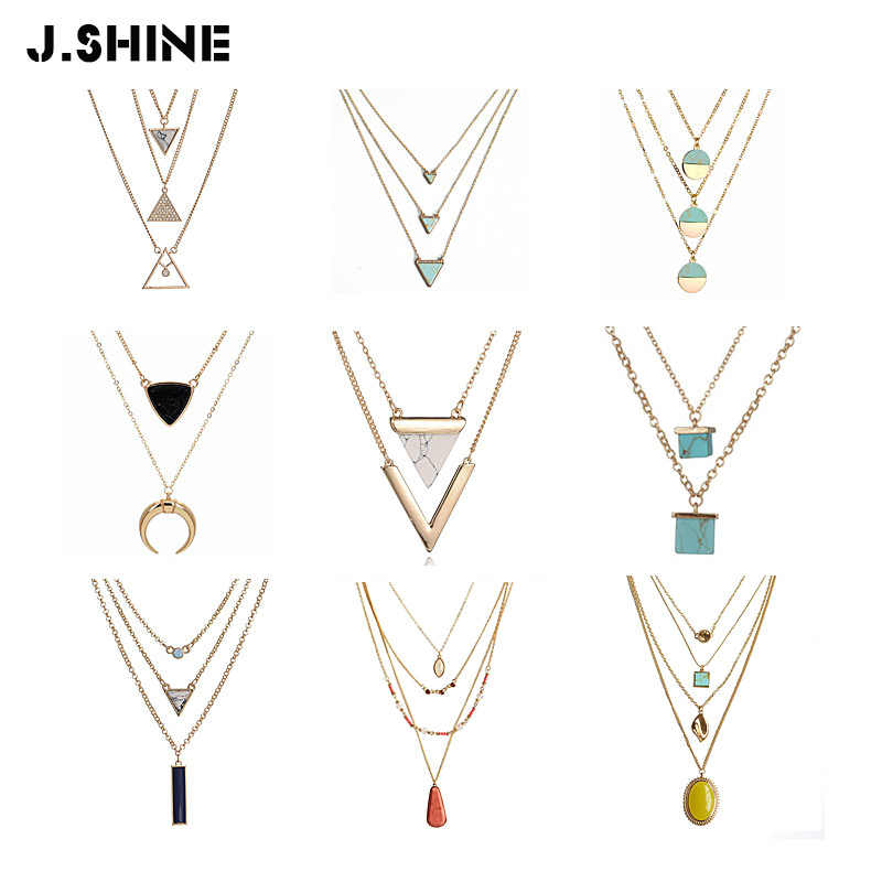 JShine New Fashion Necklace for Women 2019 Statement Geometric Stone Multi Layer Necklace Gift for Women Triangle Layered Choker
