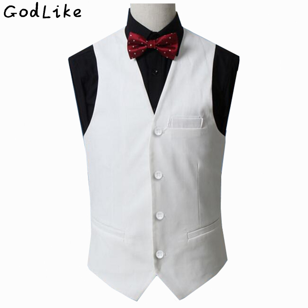 2018 Men White Slim Fit Suit Vests Male Single Breasted Notched Collar Business Casual V ...