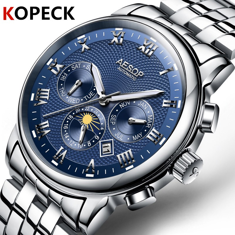 Fashion Men Blue Wrist Watch Week Display Mens Automatic Mechanical Watch Stainless Steel Male Clock Luminous