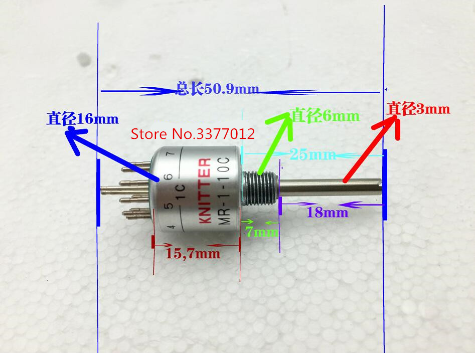 1 pcs/lot allemagne KNITTER interrupteur MR-1-10C instrument de précision rotatif bande interrupteur 1 couteau 10 fichiers longueur de l'arbre 25mm