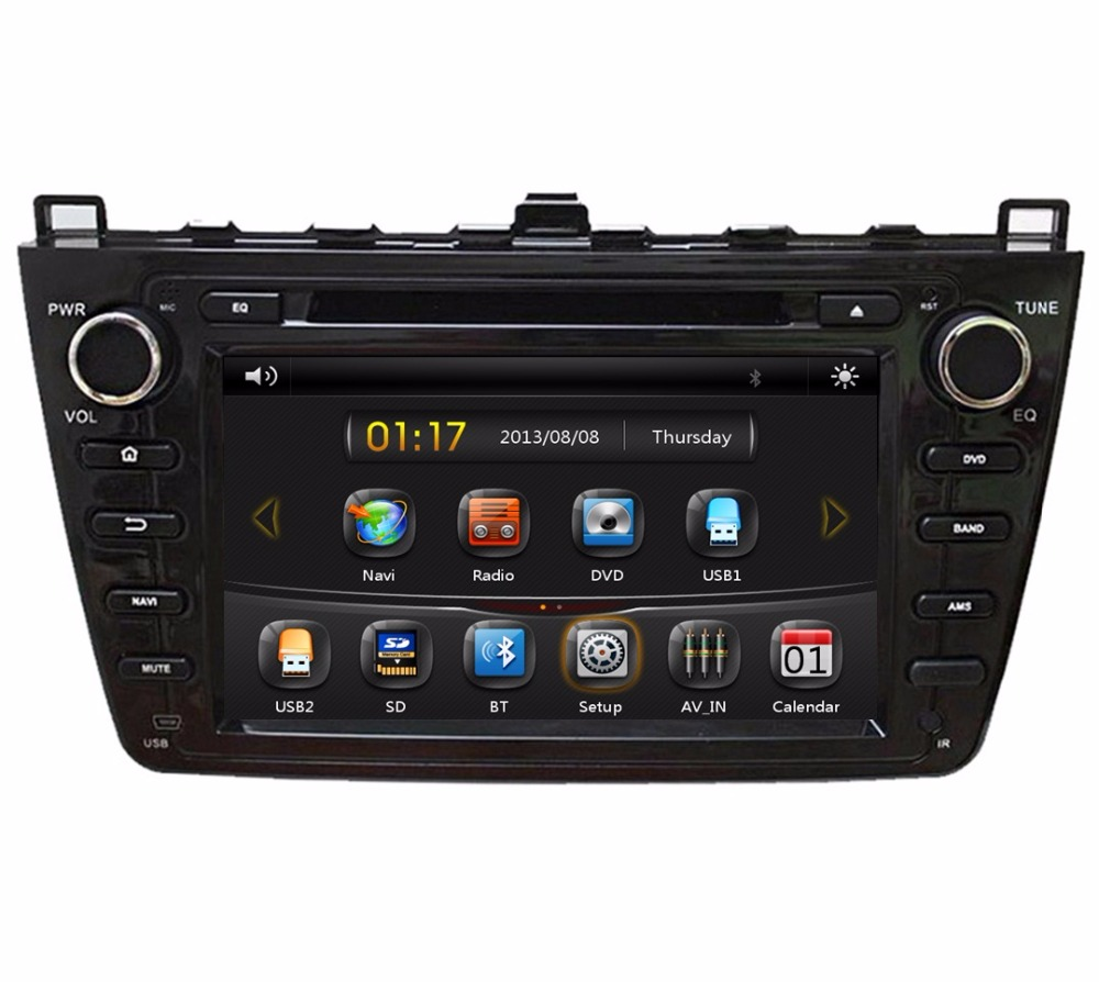 Black HD 2 din 8″ Car Radio DVD Player for Mazda 6 2008-2012 With GPS Navigation Bluetooth IPOD TV SWC USB AUX IN