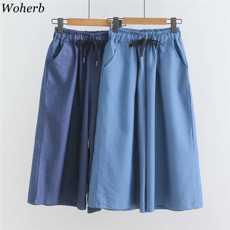 Woherb Casual Calf Length   Wide     Leg     Pants   Women 2019 Summer Thin High Waist   Pant   Korean Modis Loose Trousers Pantalones Mujer