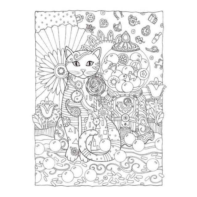 Online Shop 68 Page Cat City Coloring Book For Adults Children Livro