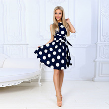 Women Dress 2019 Summer Female Vintage Dots Print Boho Dress Ladies Casual Elegant Short Sleeve A-line Party Midi Dress Vestidos