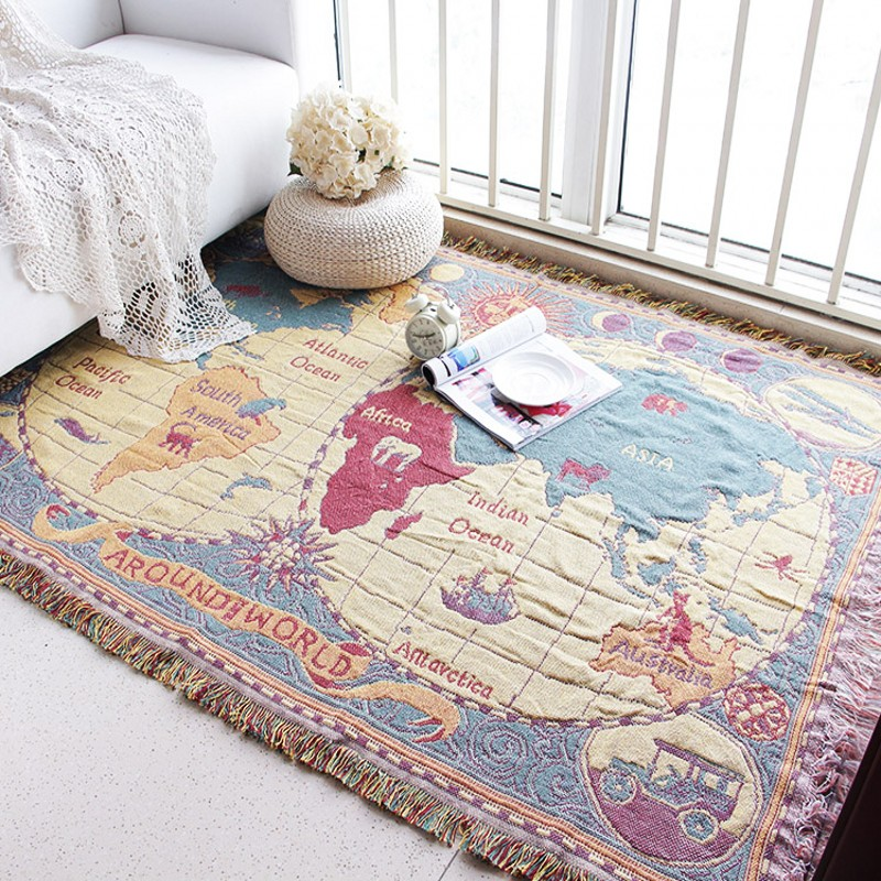 Beautiful World Map Carpet Living Room Sofa Bedroom Rectangular Household Floor Mat