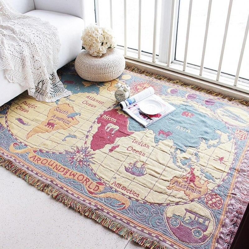 Belle carte du monde tapis salon canapé chambre rectangulaire ménage tapis de sol