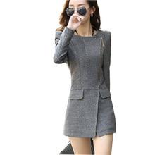 Новая Мода 2017 Весна Осень Женщины Длинные Шерстяные Смеси Пальто Плюс Размер Тонкий Шерстяное Пальто Черный Серый Пальто Кашемир