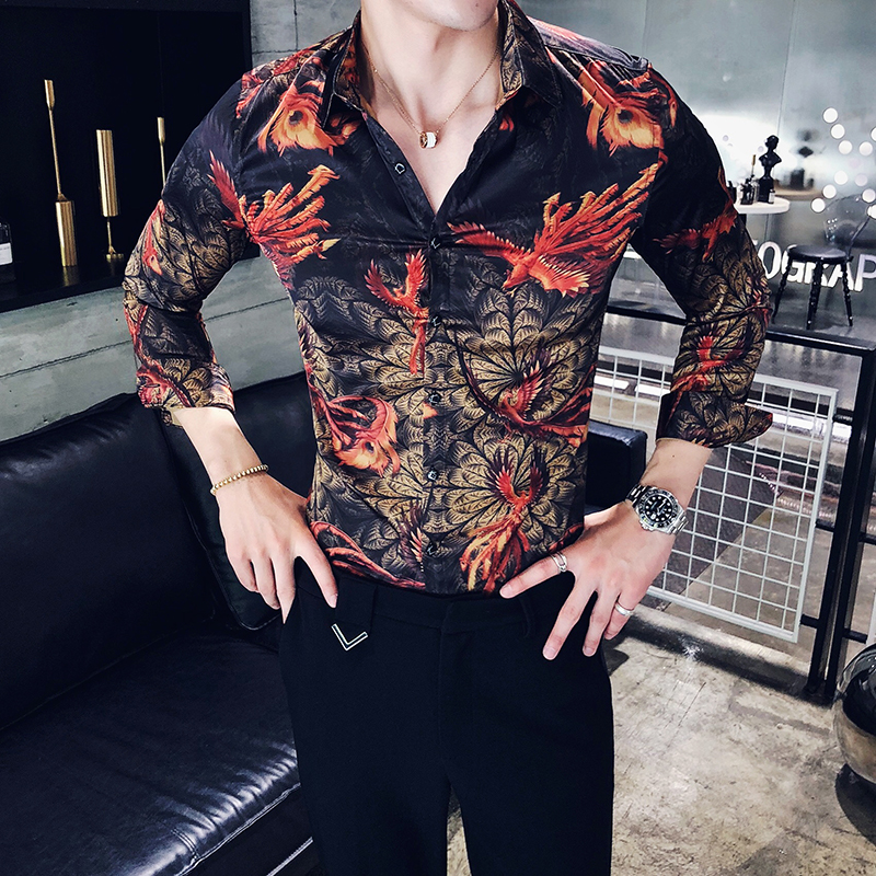 2018 Red Floral Super Slim Casual Men Stylish Fit Long Sleeve Shirts Party Dress Club New Shirts Tops Camisa Masculina