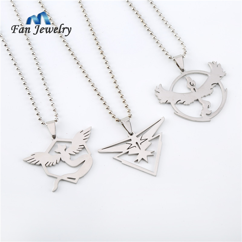 New Pokemon Go Necklace Game Anime Stainless Steel Team Valor Mystic Instinct Logo Dog Tag Necklace for Women and Men fans XL659