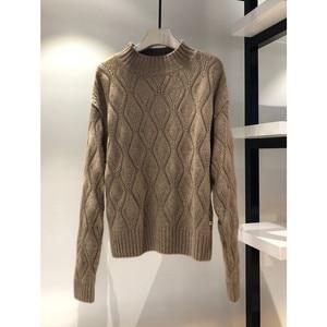 Image 5 - Lafarvie dzianinowy sweter z mieszanki kaszmiru kobiet jesienno zimowy sweter z golfem Hollow sweter kobiecy wzór w romby luźny sweter