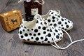 2015 Nuevo punto Del Leopardo Del Cuero Genuino del niño hecho a mano Mocasines Bebé recién nacido Primer Caminante antideslizante zapatos inferiores Suaves infantiles