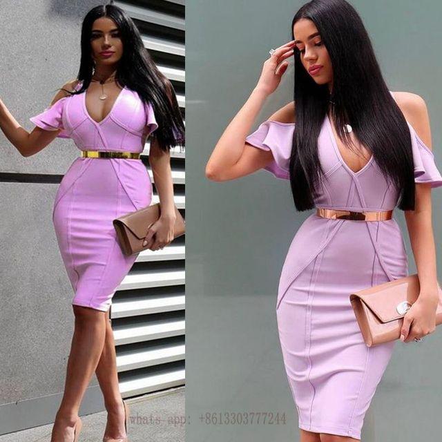 6d5695c31a17 off shoulder summer dress purple violet nude womens bandage rayon dresses  2017 sexy ruffle deep v neck vestidos party dresses