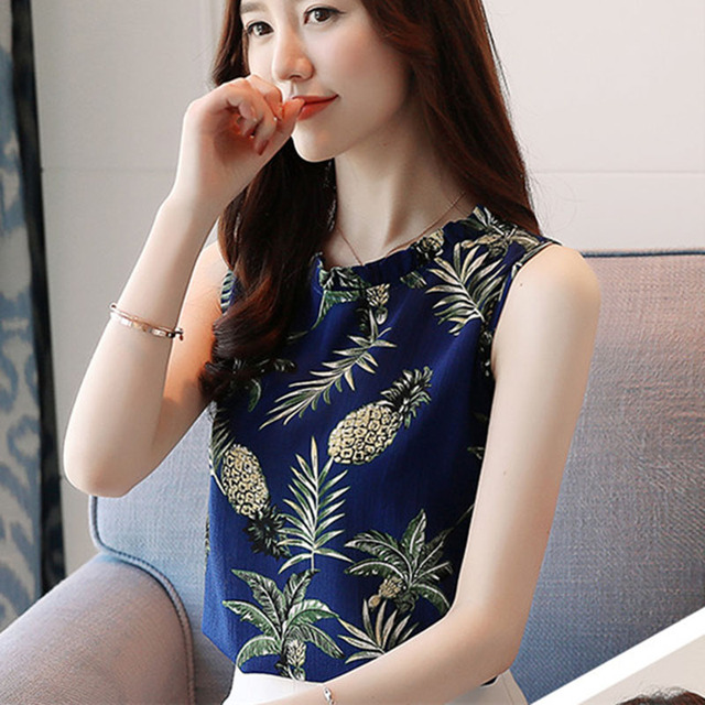 Women Spring Summer Style Chiffon Blouses Shirts Lady Casual Office Work Wear Sleeveless O-neck Blusas Top Feminina DD1610