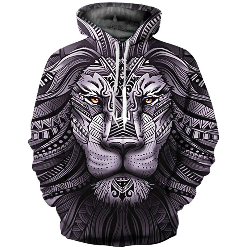 New Fashion Animal Style Sweatshirts Men Pullovers Print Lion/wolf Hoodies Hooded Tracksuits Autumn Thin Top Hoody Plus