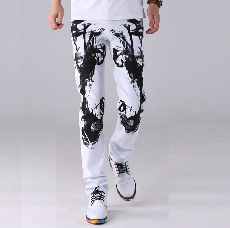 мужские джинсы olrik 2015 slim fit 28 36 ol 53003 28-36 ! 2015 men's new Autumn fashion young male stamp Jeans Straight slim white casual trousers singer costumes clothing