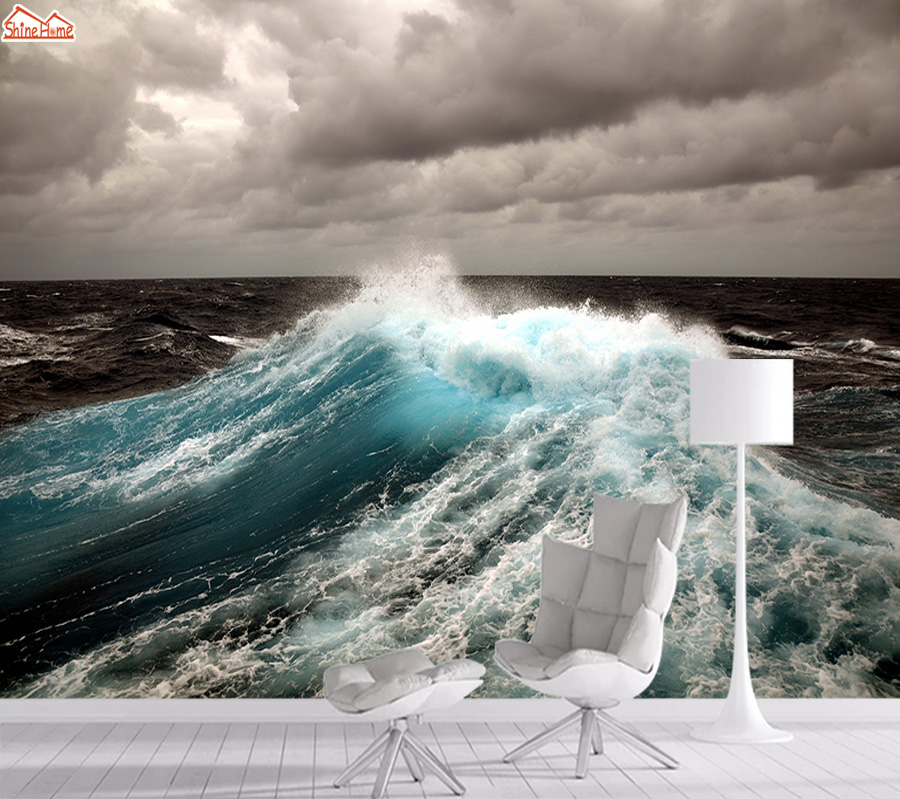 3d Photo Mural Wallpaper Self Adhesive Wall Paper Papers Home Decor Wallpapers For Living Room Sea Wave Murals Walls Rolls Art