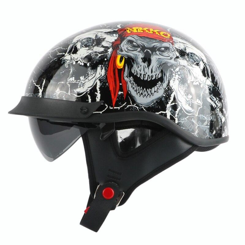 New arrival brand THH vintage half helmet Retro scooter helmet Cool skull motorcycle helmet with Internal visor DOT moto casco