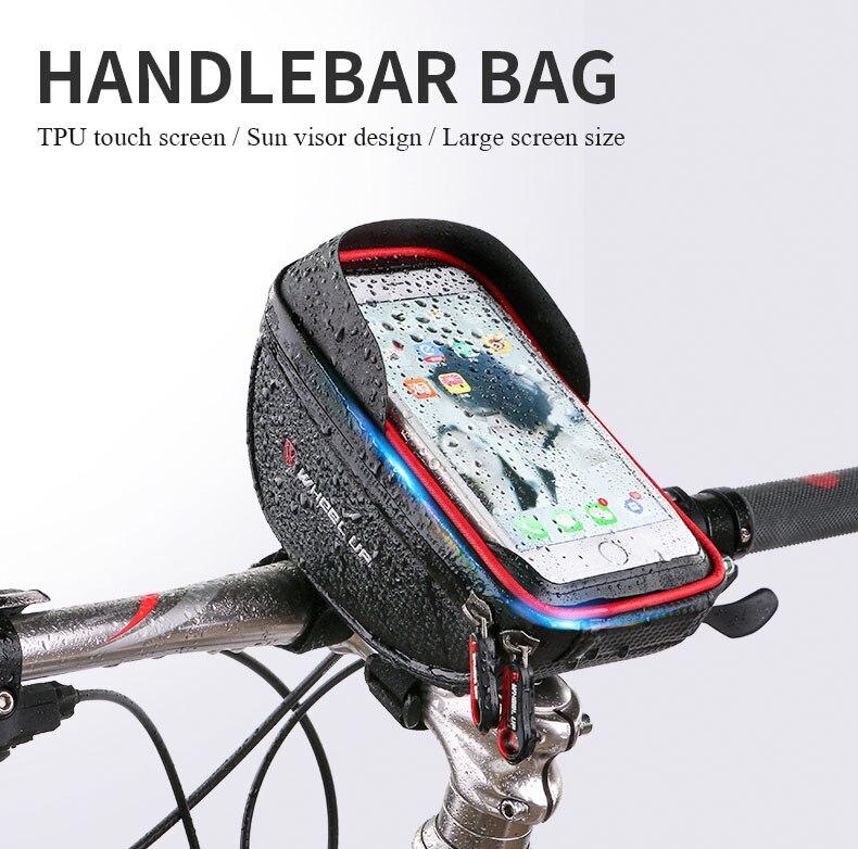 imágenes para 2017 Universal de Bicicletas Soporte Para Teléfono de Pantalla Táctil A Prueba de agua Bolsa de Manillar De Bicicleta Bolsas Del Teléfono para el iphone Para Samsung suporte celular