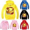 Pikachu Pokemon Ir Outono Miúdo Bonito Dos Desenhos Animados Do Bebê Meninos Menina Roupas AU Jogos crianças de Manga Comprida Camisola Do Hoodie Roupas outfits