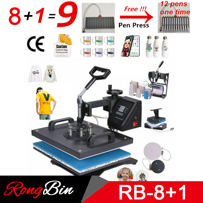Double Display 8 In 1 Combo Heat Press Machine Sublimation Heat Press Heat Transfer Machine Cap T-shirt Phone Case Mug Plate Pen