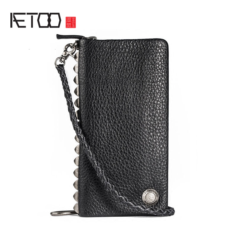 AETOO Rivet clutch bag handbag men's zipper cell phone bag leather handbag bag creative tide men's wallet long men's