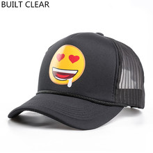 (BUILT CLEAR) Free Shipping 2017 New Cartoon Smiley Print Hooded Backgrass Golf Female Baseball Cap snapback Net Hat Hot Shirt