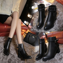 Women's shoes autumn and winter new leather boots pointed Martin boots thick with side zipper high heel warm ladies ankle boots wetkiss fashion patchwork genuine leather autumn winter boots charming ankle boots side zipper women s high hoof heel shoes new
