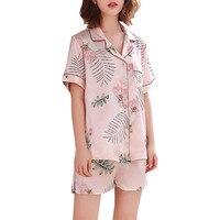Sleeping top women Sexy pajamas Women Simulation Silk Printing Pattern Pajamas Sleepwear Nightwear Set 6.27 0.5