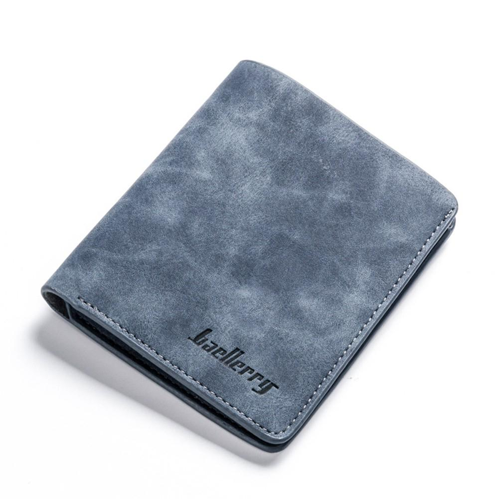 PinShang Men Retro Frosted PU Wallet Two Folding Male Purse Credit Card Holder Solid Color Short Wallet  ZK30