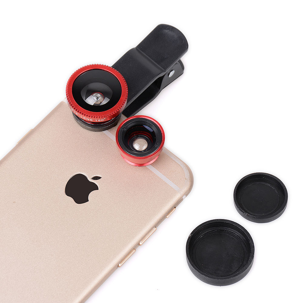 Fisheye Lens 3 in 1 mobile phone clip lenses fish eye wide angle macro camera lens for iphone 6 6s plus 7/7 plus xiaomi huawei 2