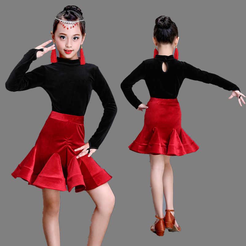 34229b03 Niñas niños salón moderno baile latino ropa vestido Salsa rumba tango samba  cha Rojo Negro falda