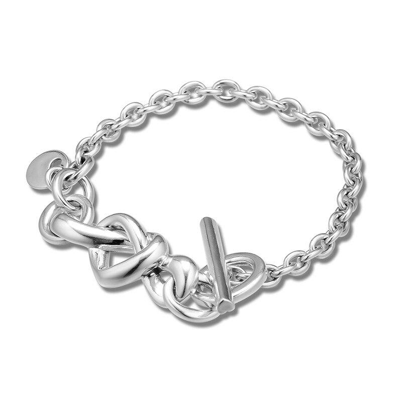 Knotted Heart Charm Bracelets for Women Men Fine Chain Bracelets Original 925 Sterling Silver Bracelets Jewelry
